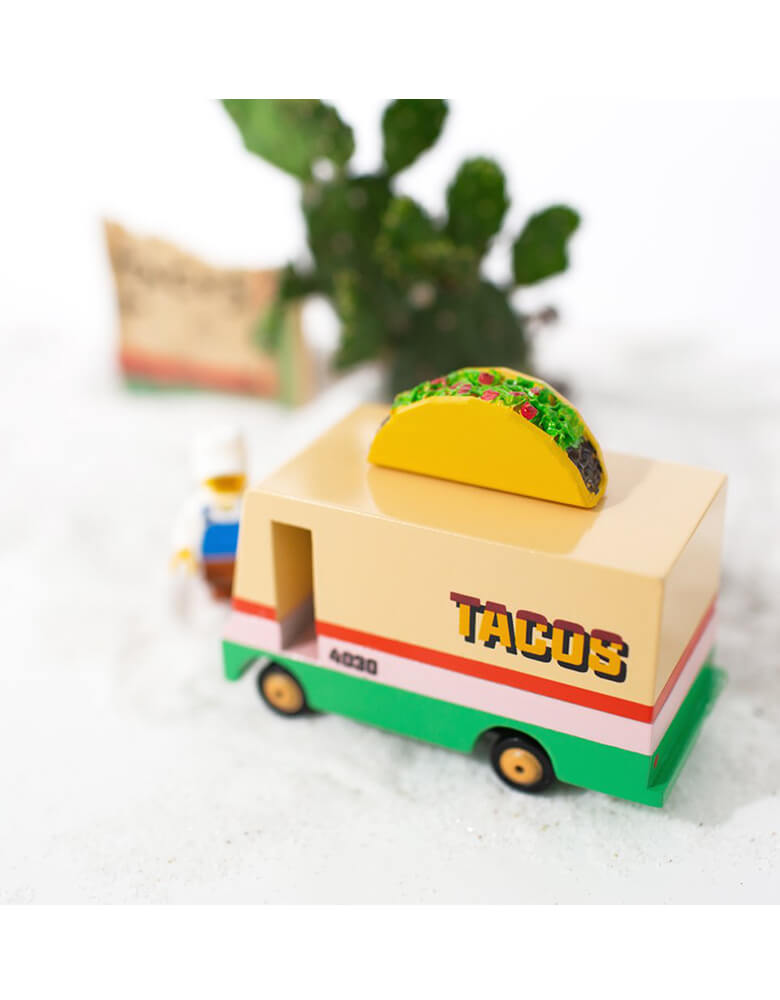 Candylab Wooden Toy - Candyvans Taco Van, Designed by Candylab Toys, it was built with solid beech wood, water-based paint and clear urethane coat