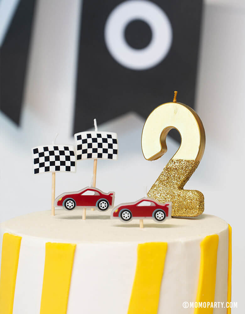 "Birthday Cake with Talking Table Race Car Birthday Candles and Gold WE HEART BIRTHDAY #2 Gold GLITTER CANDLE for a Boy's ""Two Fast"" Car themed birthday Party"