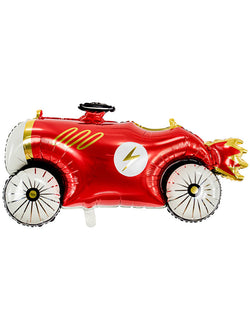 Party Deco - 36inch Car Foil Mylar Balloon, featuring race car shape with a lighting icon on it's red car body with gold foil details. perfect for a race car themed birthday, cars party, car themed birthday, birthday theme for boys or car lovers