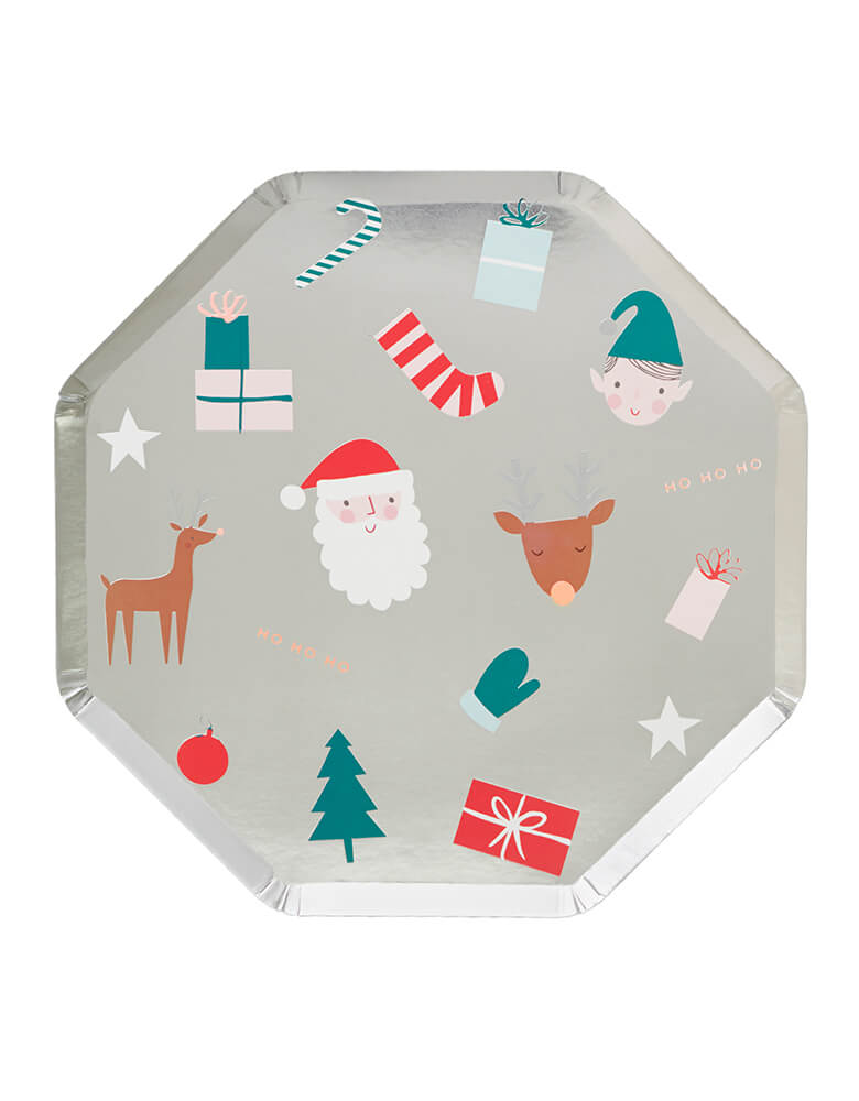 Meri Meri Christmas Festive Dinner Plates  in Silver with Christmas elements including Santa, elf, Christmas tree, stocking, reindeer, etc