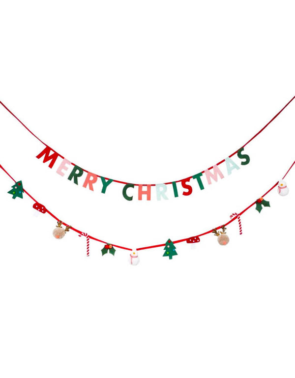 "Meri Meri Christmas Festive Motif Garland, Set of 2 in 2 designs, This gorgeous garland features 14 letter & 12 themed felt pennants of ""Merry Christmas"",  and lots of delightful details, including Reindeer and snowman pompoms and glittery gold fabric. perfect home decoration, nursery decor, wall garland for holiday. Sold by Momo party store provided modern party supplies, boutique party supplies, chic holiday party supplies and high end party supplies"