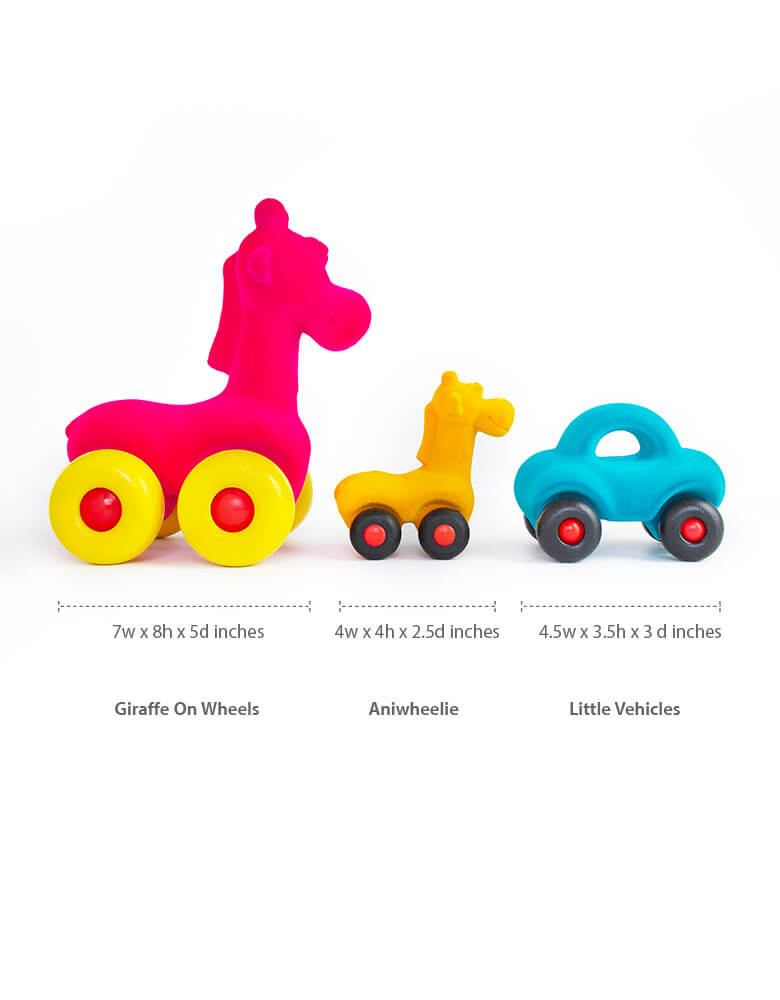 Dimensions of Rubabbu Blue Car, Pink large Giraffe and yellow small giraffe toys