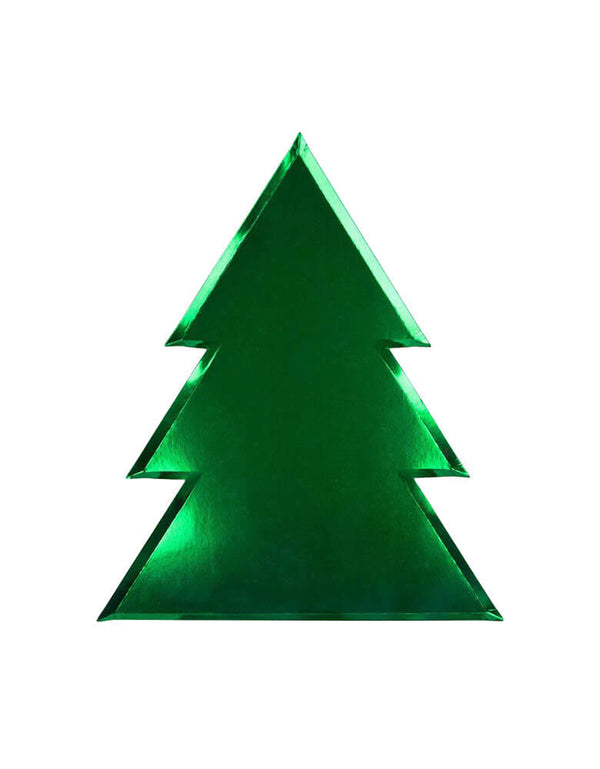 Die-cut Christmas tree paper plates with green foil