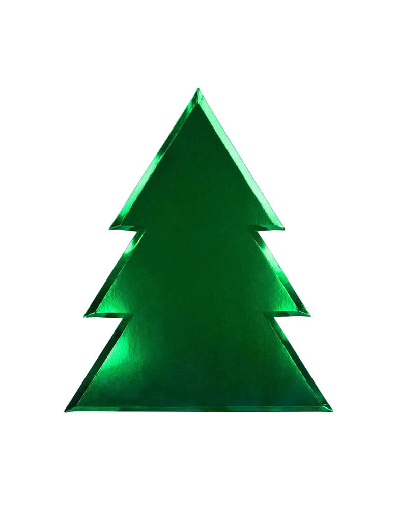 Meri Meri Christmas Tree Plate,  Feathering  a Die-cut Christmas tree paper plates with green foil for your festive gathering this holiday.
