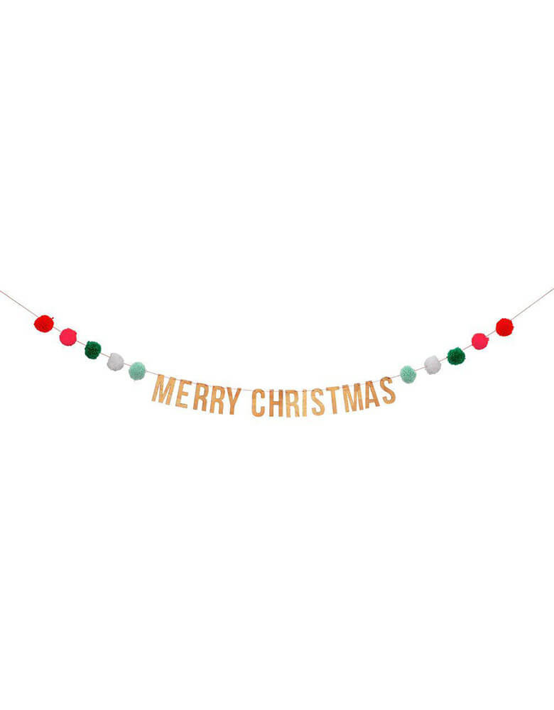 showing Christmas Holiday Party Festive Pompom Garland with wooden sign