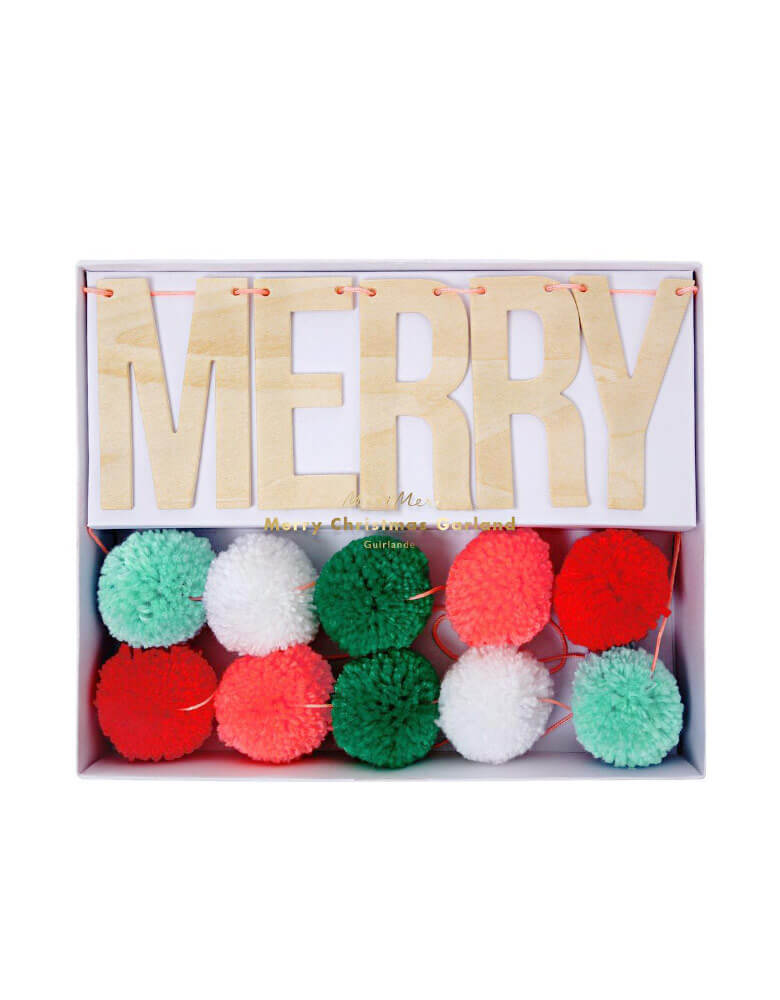 Christmas Holiday Party Festive Pompom Garland with wooden sign