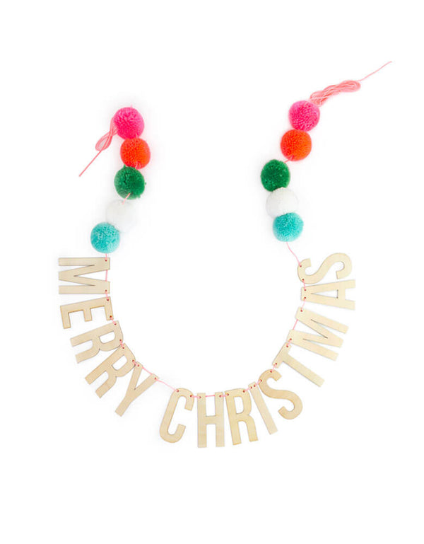 Holiday Party Festive Pompom Garland with Wooden Merry Christmas Sign
