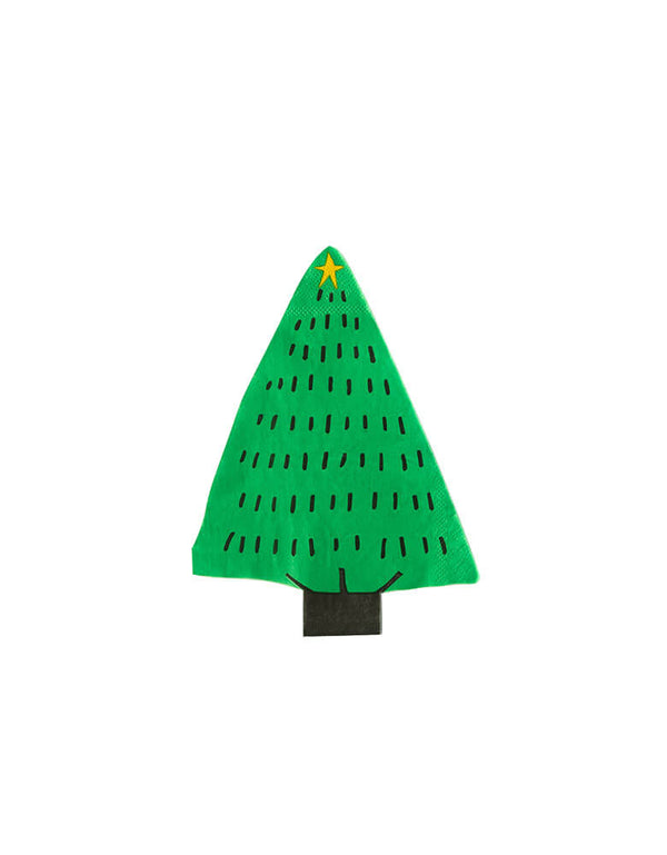 My Minds Eye - Christmas Tree Napkin, featuring a cut-out green paper napkins in Christmas tree shape with gold star on the top of tree, Modern designed high quality party supplies for a special Kid Christmas Holiday Party celebration