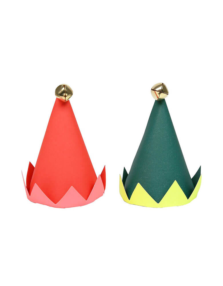 Christmas elf party hats with shiny little bells