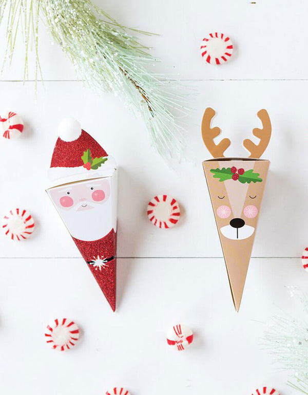 Christmas Santa and Reindeer Party Favor Candy Boxes