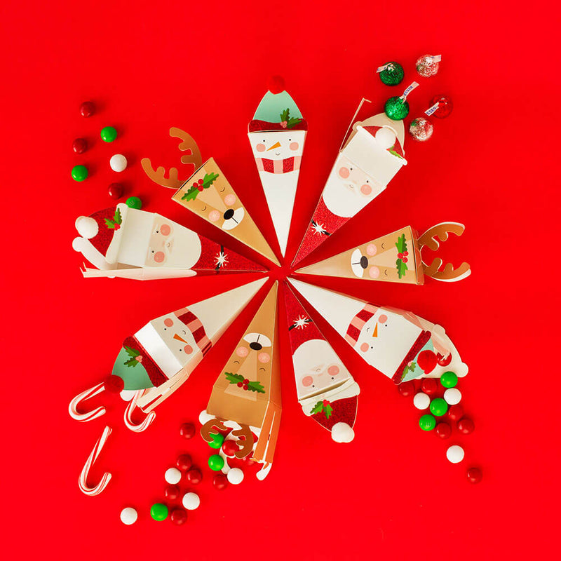 Holiday Party Favor Candy Boxes of Reindeer, Santa and Snowman