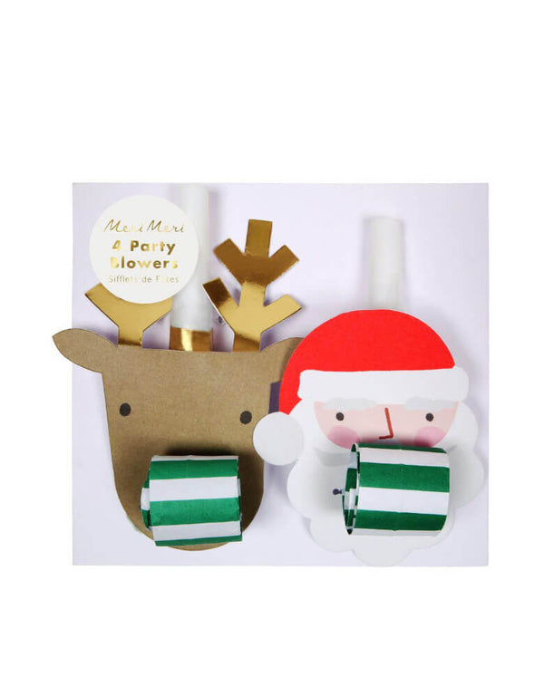 Christmas Holiday Party Santa & Reindeer Party Blowers