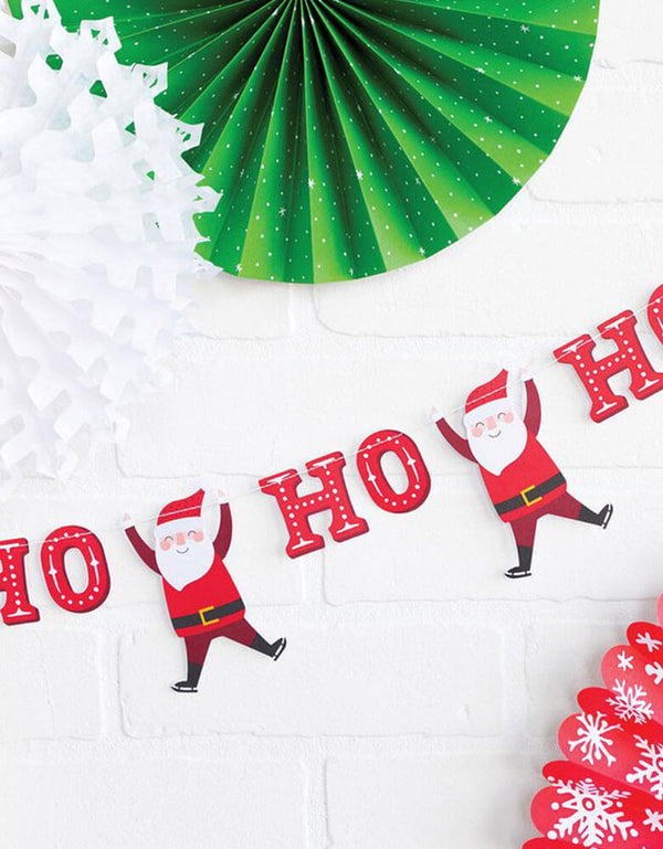 wall decoration with Christmas Holiday Santa HO HO HO Banner
