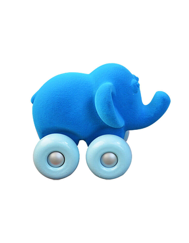 Rubbabu Animal on Wheels - Elephant On Wheels, blue velvety Squishy Elephant with Form baby blue wheels, special Squishy soft wheel toy for little kid
