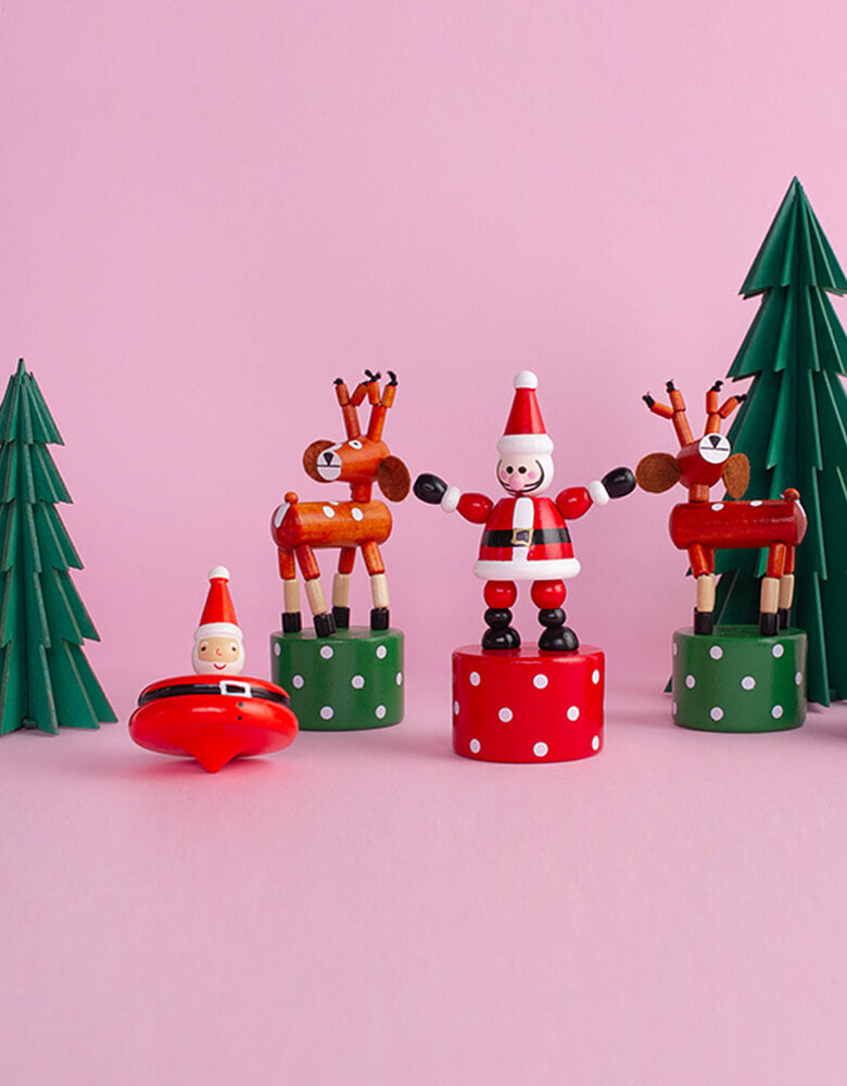 Christmas Holiday Santa and Reindeer Push Puppets and Santa Spinner wooden toy