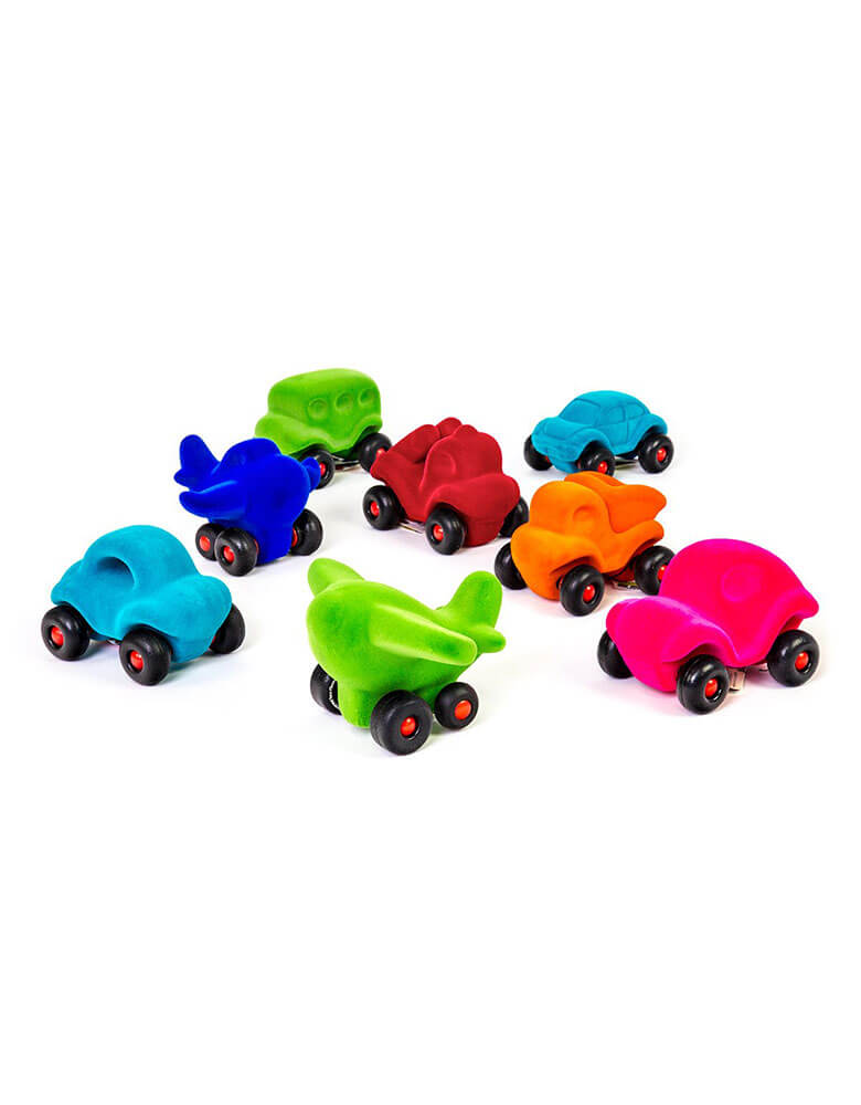 Rubbabu colorful Little Vehicle Assortment, Soft and Squishy Toy Cars Made From Natural Rubber. Eco-friendly sensory toys for babies, children and special needs.