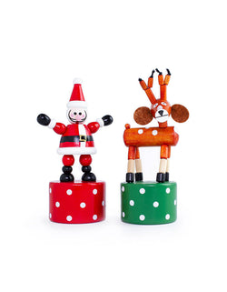 Christmas Holiday Santa and Reindeer Push Puppets Wooden Toy