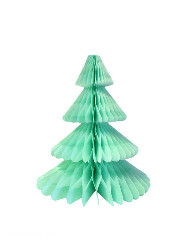 Devra Party Honeycomb Paper Christmas Tree decoration in Mint, 12 inch, Made in the USA with high quality tissue paper. This tissue paper tree will look so adorable for either your Holiday decoration at home or your Christmas event, use it as room decor, table centerpiece, or put them on top of the mantel. Delight your cozy pastel holiday with modern unique designed paper tree. Sold by Momo party store provided modern party supplies, boutique party supplies, chic holiday party supplies