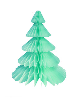Devra Party Honeycomb Paper Christmas Tree decoration in Mint, 17 inch, Made in the USA. This paper tree is made from high quality tissue paper This tissue paper honeycomb Christmas tree will look so adorable for your Holiday decoration at home! or your christmas event decor, table centerpiece, or room decor. put them on top of the mantel. decorate your modern holiday with modern unique designed paper tree