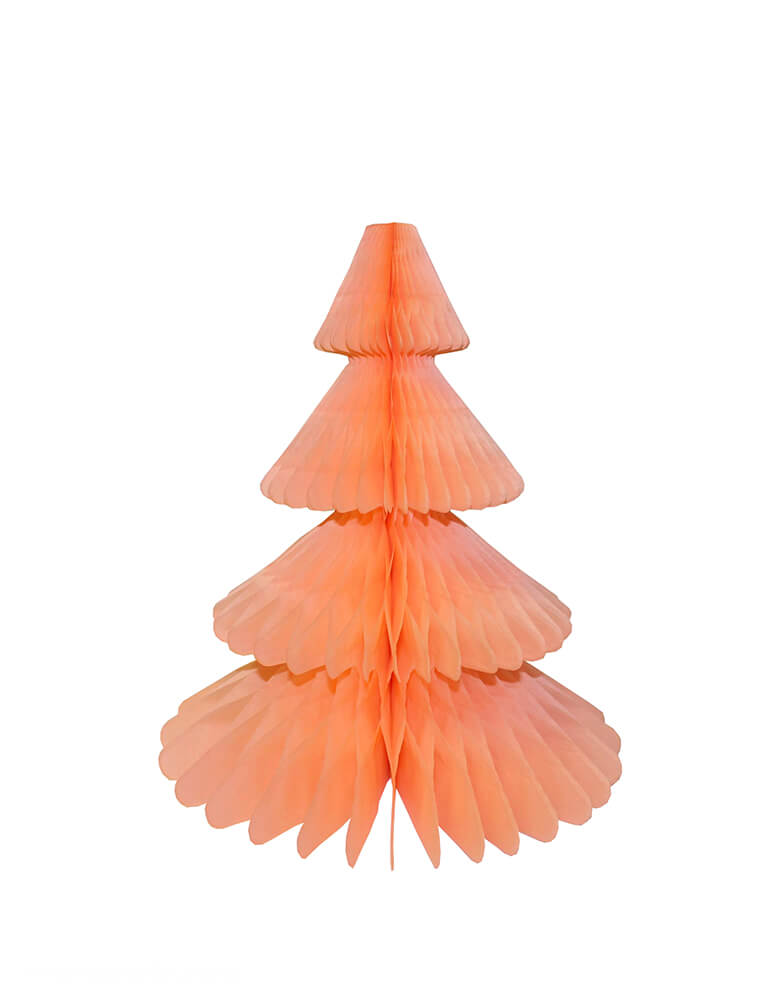 Devra Party Honeycomb Paper Christmas Tree decoration in Peach, 12 inch, Made in the USA with high quality tissue paper. This tissue paper tree will look so adorable for either your Holiday decoration at home or your Christmas event, use it as room decor, table centerpiece, or put them on top of the mantel. Delight your cozy pastel holiday with modern unique designed paper tree. Sold by Momo party store provided modern party supplies, boutique party supplies, chic holiday party supplies