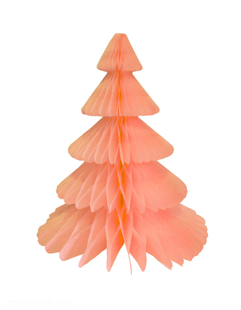 Devra Party Honeycomb Paper Christmas Tree decoration in Peach, 17 inch, Made in the USA with high quality tissue paper. This tissue paper tree will look so adorable for either your Holiday decoration at home or your Christmas event, use it as room decor, table centerpiece, or put them on top of the mantel. Delight your cozy pastel holiday with modern unique designed paper tree. Sold by Momo party store provided modern party supplies, boutique party supplies, chic holiday party supplies