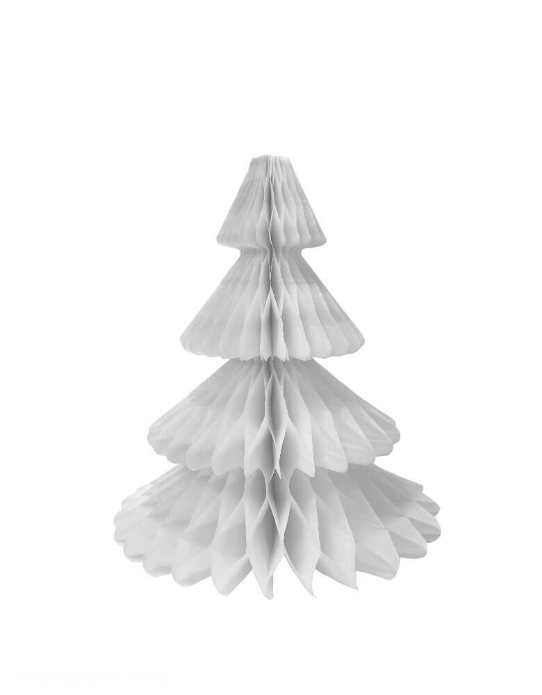 Devra Party Honeycomb Paper Christmas Tree decoration in White, 12 inch, Made in the USA with high quality tissue paper. use it as room decor, table centerpiece, or put them on top of the mantel. Delight your cozy holiday with modern unique designed paper tree. This tissue paper tree will look so adorable for for your holiday celebration, holiday home decoration, white christmas decoration, winter wonderland birthday party