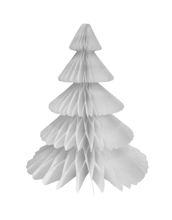 Devra Party Honeycomb Paper Christmas Tree decoration in White, 17 inch, Made in the USA with high quality tissue paper. use it as room decor, table centerpiece, or put them on top of the mantel. Delight your cozy holiday with modern unique designed paper tree. This tissue paper tree will look so adorable for for your holiday celebration, holiday home decoration, white christmas decoration, winter wonderland birthday party
