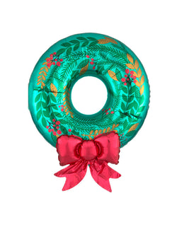 "Anagram 30"" Christmas Wreath Satin Foil Mylar Balloon. This balloon is made with satin material, wreath shaped with leaves print on the green wreath, with a red bowtie to give it extra luxe for the most wonderful time of the year!"