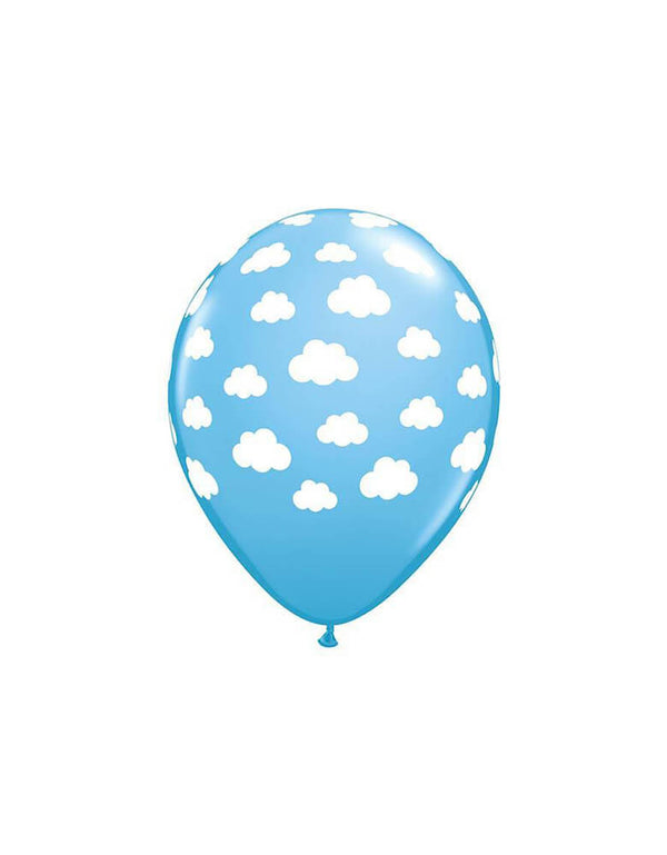 "Qualatex Balloons - 11"" cloud print printed on the pale blue latex balloons Latex Balloon"