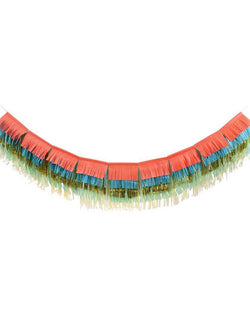 Meri Meri 10 ft Colorful Fringe Large Garland with 9 tissue fringe pennants in 5 layers