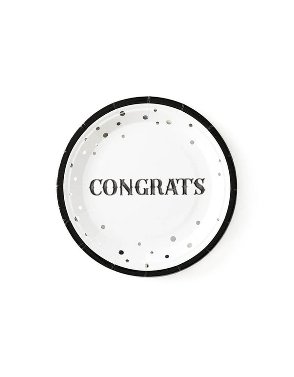 "My mind's eye - Congrats Plates. These 7"" silver foiled paper plates, Designed in basic black and white with foil accents, with a word ""congrats"" text in the middle"