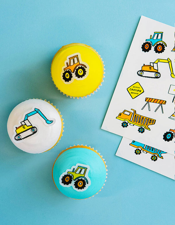 make bake Construction Edible Decorating Stickers with Pack of 2 sticker sheets, total of 24 stickers. Made in the USA. Featuring construction themed design. Stickies™ are made in the U.S.A. They're nut free, dairy free, gluten free, non-GMO and Kosher. Basically, Stickies™ are for everyone! this set of Stickies is perfect for your little one's construction themed party!