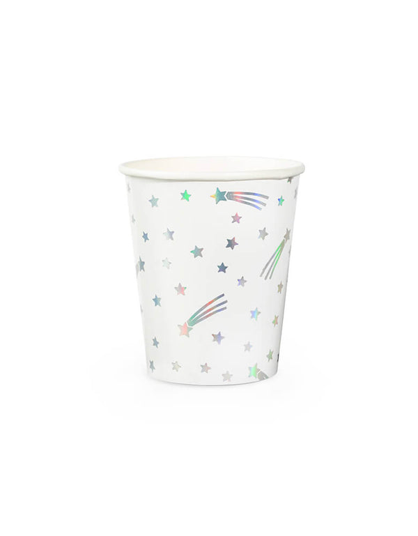 Day Dream Society Cosmic Cups, Set of 8, illustrated by hello!lucky for daydream society, reach for the stars! featuring a mix of holographic silver foil and metallic silver ink, we are all starry-eyed over these paper cups. These Modern Paper Party Cups are simply perfect for a space, Star Wars, galactic themed celebration, and over the rainbow collections!