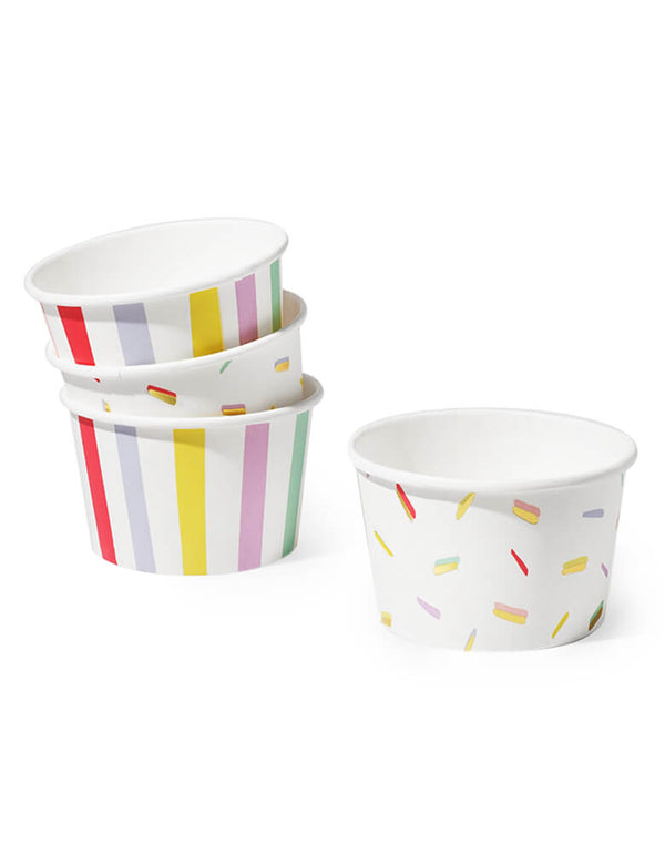 Coterie - Stripe and Sprinkle Bowls. Pack of 10, 5 striped bowls and 5 sprinkle bowls with gold metallic accents. These cups are so fun and perfect to use as ice cream cups, or serve for snacks and sweets