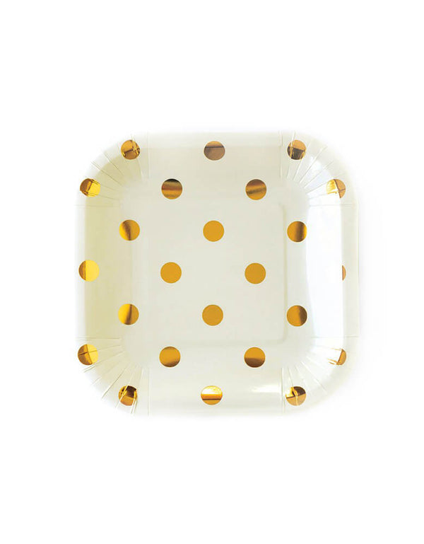 Cream Polka Dot Plates (Set of 12)