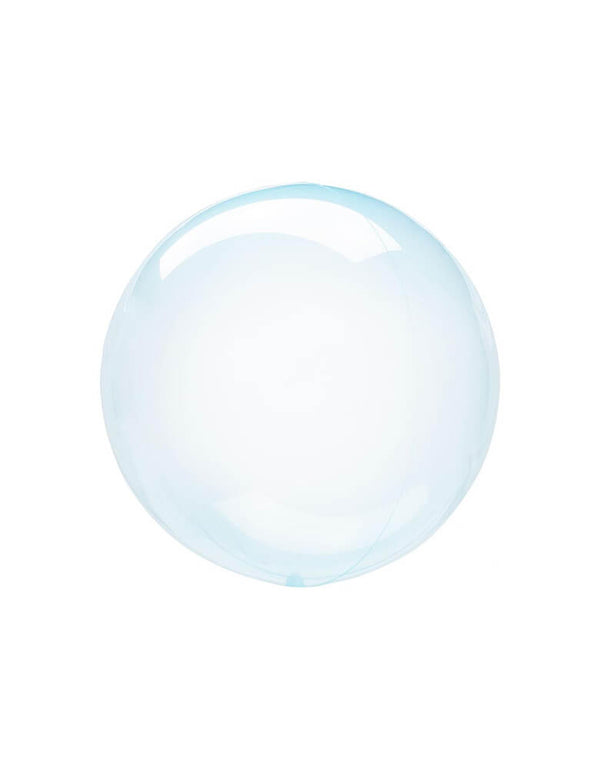 Anagram Balloons - Crystal Clearz Blue Orbz Non Foil Balloon. The transparent material makes great bubble effect! This balloon includes a self-sealing valve, preventing the gas from escaping after it's inflated. Accent this balloon for your under the sea party, Mermaid party, Shark themed Birthday party, Baby shark birthday party, Magical Unicorn Party or any pool party in summer