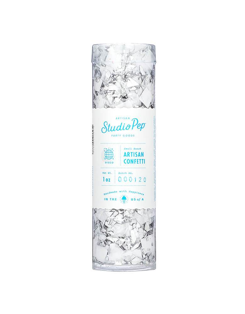 Studio Pep Disco Artisan Confetti Tube - Silver and White_1 oz