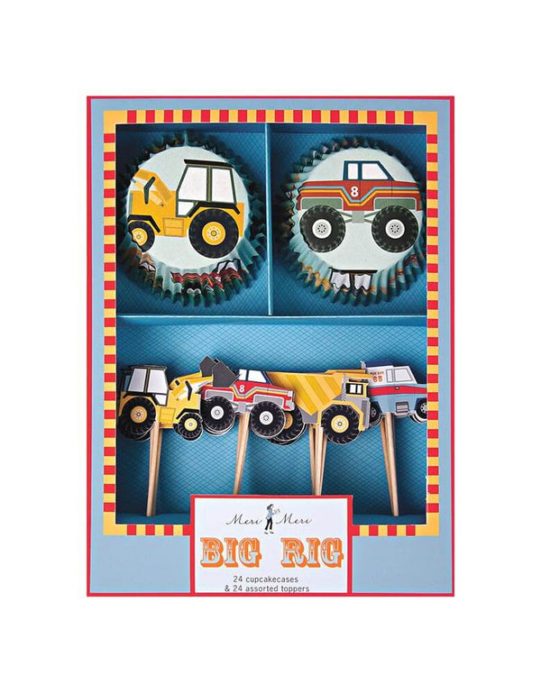 Meri Meri Big Rig Cupcake Kit with diggers, monster trucks, tippers and tow trucks topper design