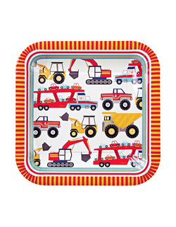 Meri Meri Big Rig Large Paper Plates 12ct with diggers, tippers and car transporters design