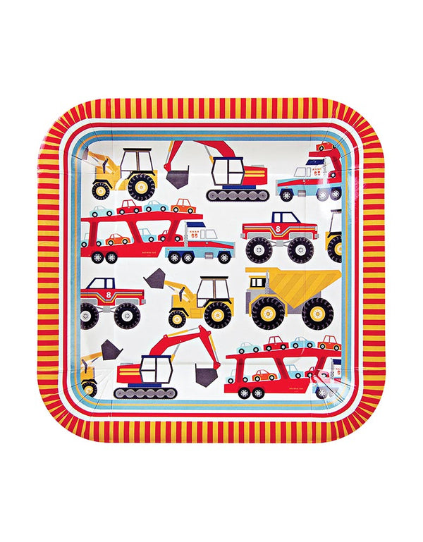 Meri Meri Big Rig Large Plates with Trucks print