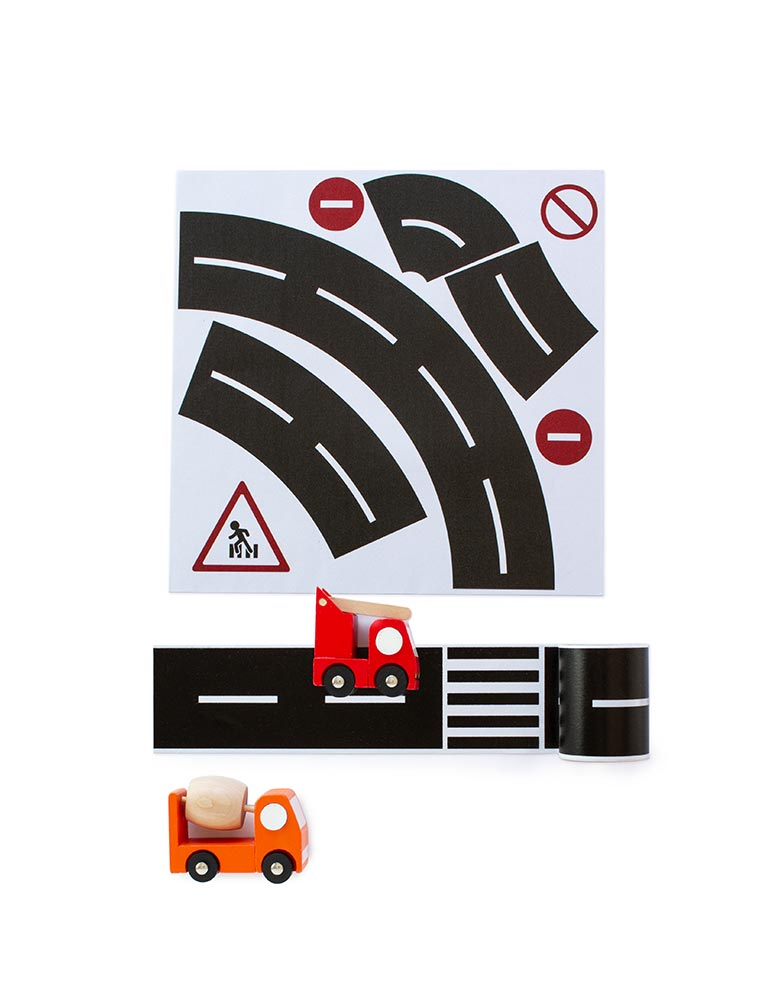 Train Wooden Toys on Road Tape and Curve Set, Tape Toy Car Track for Kids, Sticker Roll for Cars and Train Sets