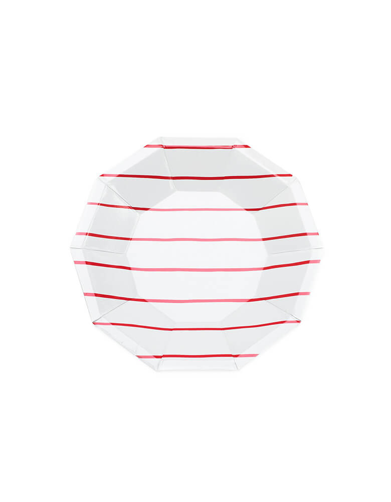 frenchie red striped small paper plates