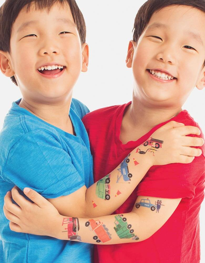Boys with non-toxic trucks and cars temporary tattoos