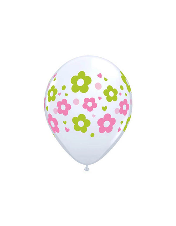 Qualatex 58892 11 in. Daisies Dots & Hearts Latex Balloon