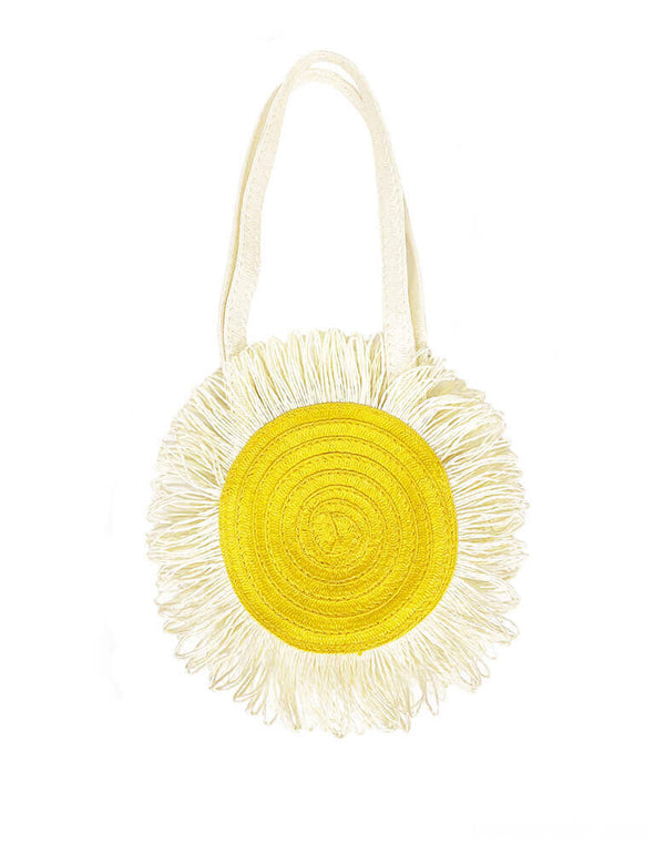 Rockahula Kids - Daisy Basket. Daisy shaped bag for kids. It has a spotty yellow lining, over the shoulder handles and fastens with a magnetic dot - a summer must have for any little one. It also makes a great gift for daisy-loving little one on Easter!