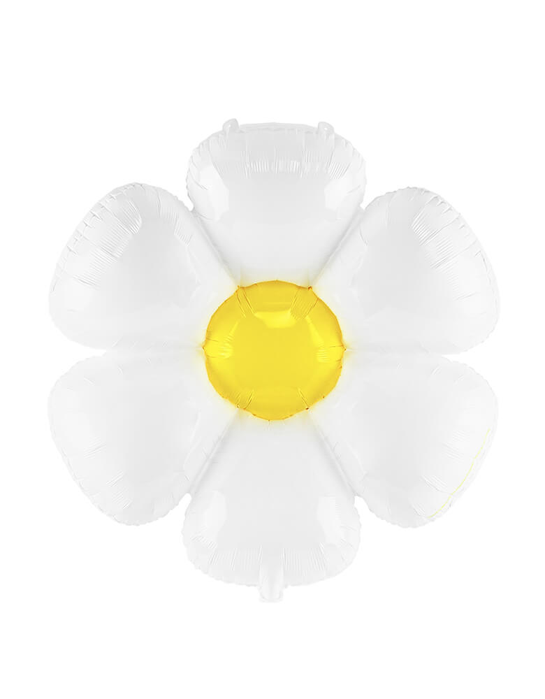 Party Deco Daisy Foil Mylar Balloon with Daisy petal shapes. Accent your spring or tea party themed celebration with this adorable daisy foil mylar balloon
