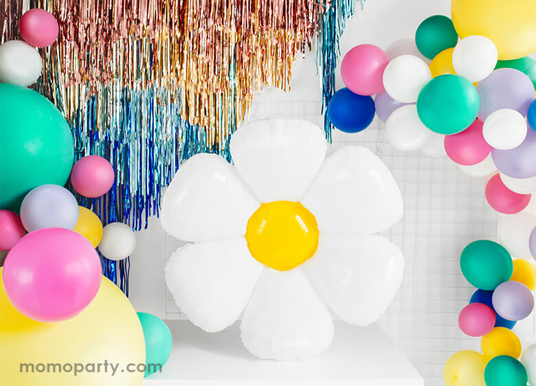 Birthday Party Decoration with Party Deco Daisy Foil Mylar Balloon, colorful latex balloons and gold, blue fringe. Party inspiration for a spring or tea party themed celebration, girls birthday Party
