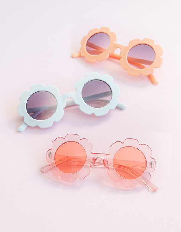 Daisy shaped Sunglasses for Kids/ toddler. featuring cute daisy shape in peach, clear pink and white color