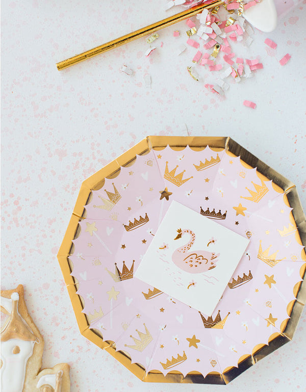 Daydream Society Sweet Princess Collection Tableware with temporary tattoos in swan design for girl's princess themed party
