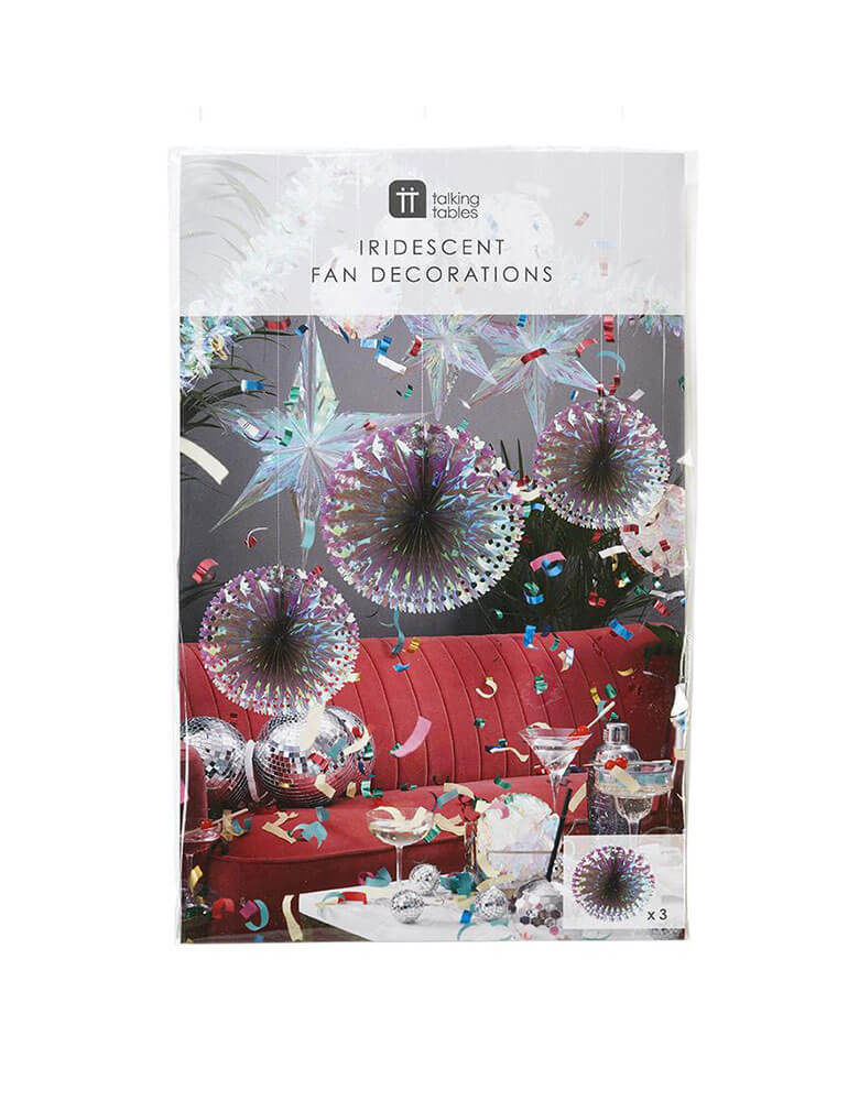 Talking Tables Decadent Decs Iridescent Fans in its package